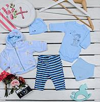 Теплый костюм для мальчика (кофта, штанишки, шапочка, боди, слюнявчик) р. 80 ТМ  Фламинго 433-910