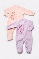 Трикотажный комбинезон для новорожденных 1-12 месяцев, размеры 56-80 (человечек) ТМ Модный Карапуз сиреневый, персиковый