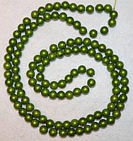 Бусина пластиковая 1005 Зелёная олива  8 мм, нить 110-120 бусин