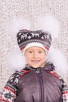 """Шапка зимняя """"Скандинавия"""" для девочки  с натуральным помпоном из песца ТМ Модный карапуз 03-00464"""