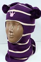 Шлем детский демисезонный для девочки (шапка детская закрытая) ТМ Beezy Фиолетово-белый 1526-6
