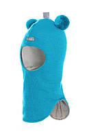 """Шлем детский зимний """"Мишка"""" для мальчика (шапка детская закрытая) ТМ Beezy Бирюза 1402-03"""