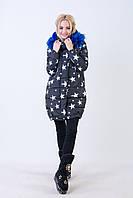Куртка женская зимняя с искусственным мехом Звезды