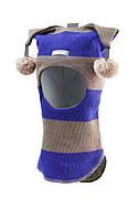 Шлем детский зимний с помпонами для мальчика (шапка детская закрытая) ТМ Beezy Василек/пепел 1407-25