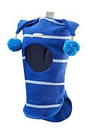 Шлем детский зимний с помпонами для мальчика (шапка детская закрытая) ТМ Beezy Синий с голубым 1407-30