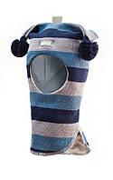Шлем детский зимний с помпонами для мальчика (шапка детская закрытая) ТМ Beezy Синий/ серый/ голубой 1406-28