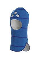 Шлем детский зимний со звездами для мальчика (шапка детская закрытая) ТМ Beezy Синий 1408-29