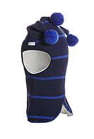 Шлем детский зимний со звездами для мальчика (шапка детская закрытая) ТМ Beezy Темно-синий 1510-31