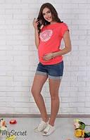 Шорты джинсовые для беременных Brianna р. 44-50 ТМ Юла Мама темно-синий с потертостями SH-26.031