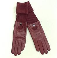 Перчатки женские кожаные высокие бордо