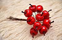 Декоративный яблоки на проволоке, цвет красный, 12 шт., диаметр 2 см.