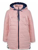 Детская зимняя куртка на девочку подростка Пудра, р.128,134
