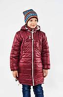 Детская зимняя куртка на девочку подростка Бордо, р.128,134