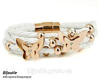 Браслет WHITE BUTTERFLY ювелирная бижутерия кожа золото 18к