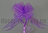 Бант из органзы с голограммой фиолетовый  5 см (самостягивающийся)