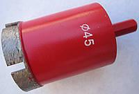 Алмазное сверло кольцевое по граниту, керамограниту 45x54x2,8(5S2,6x8x22)х25x10 под дрель, зажимной патрон