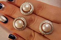 Набор украшений из серебра с жемчугом - кольцо  и серьги