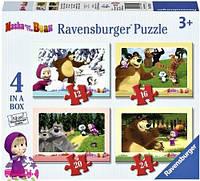 """Набор картонных пазлов """"Маша и медведь"""" для детей от 3 лет (4 пазла на 12, 16, 20, 24 элемента) ТМ Ravensburger 07028R"""