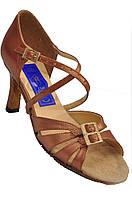 Обувь для танца ЖЕНСКАЯ ЛАТИНО из натуральной  бежевой кожи  24р  5 см