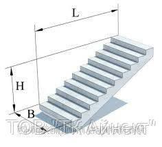 Лестничные маршы железобетонные 2ЛМФ 39-12-17.5 марши и площадки ЖБИ, ГОСТ, супер цена, размеры.