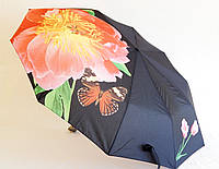 Зонт Антишторм автомат Мак и бабочка чёрный