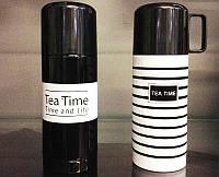 Термос TEA TIME Черный с белой полосой