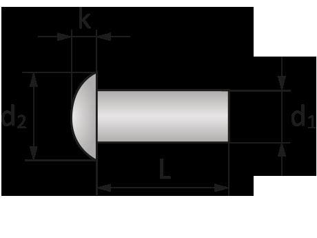 Заклепка алюминиевая 5х16 с полукруглой головкой под молоток DIN 660