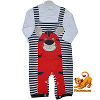 """Детский костюм-двойка """"Тигренок"""" , трикотаж , аппликация , для мальчиков 6-12-18 мес"""
