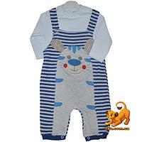 """Детский костюм-двойка """"Тигренок"""" , из трикотажа , аппликация , для мальчиков 6-12-18 мес"""