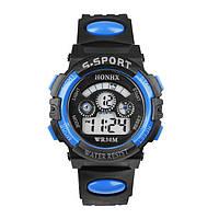 Часы наручные детские электронные цифровые для мальчика, девочки Honhx черные, синие с будильником, подсветкой