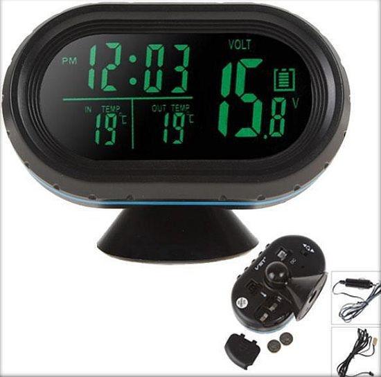 Автомобильные часы с термометром и вольтметром VST-7009