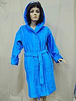 Халат махровий жіночий короткий бавовна ММ синій, фото 1