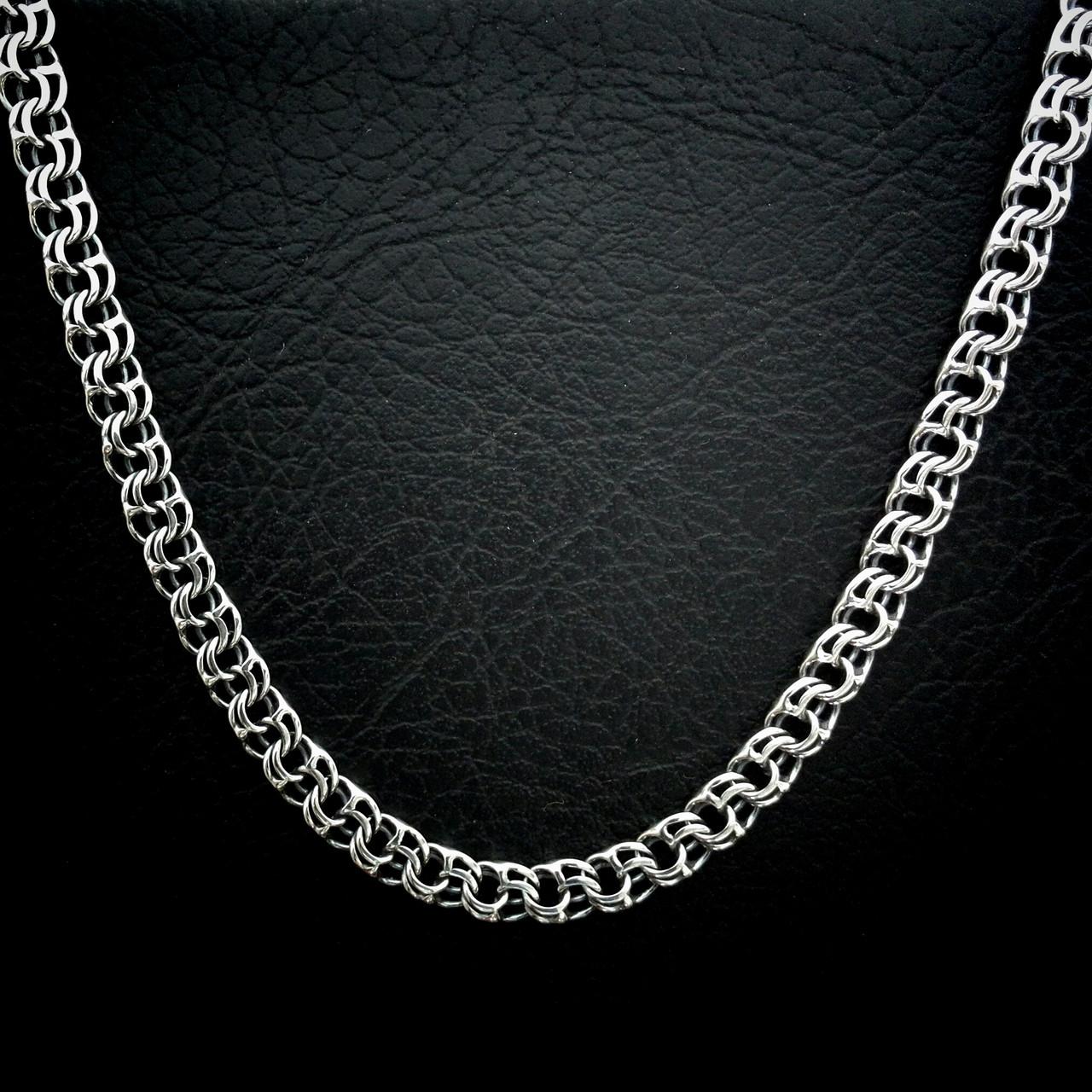 Серебряная мужская цепь, 550мм, 72 грамма, плетение Бисмарк