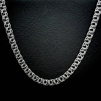 Серебряная мужская цепь, 550мм, 72 грамма, плетение Бисмарк, фото 2