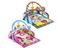 Детский развивающий коврик для младенца с бортиками, 2 дуги, 5 игрушек-пищалок