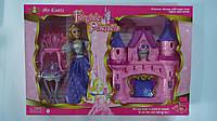 Кукла Принцесса +музыкальный Кукольный  домик-замок,мебель,свет в ко-бке ,50-34-8,5см .Кукла Принцесса с мебел