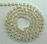 Стразовая цепь Preciosa (Чехия) ss6.5 White Opal/серебро