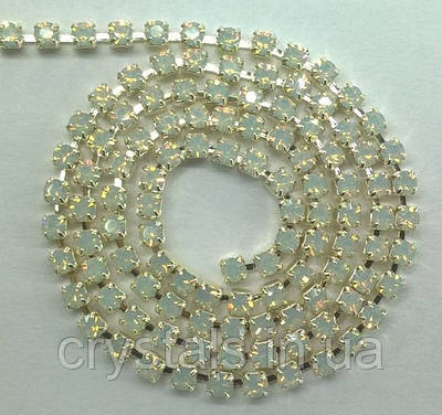 Стразовая цепь Preciosa (Чехия) ss12 White Opal/серебро