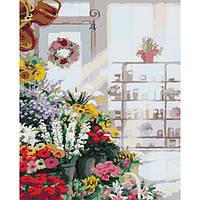 "Картина по номерам ""В цветочном магазине"" без коробки"