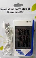 Влагомер (гигрометр) с выносным датчиком термометр, часы KT-908 для инкубатора