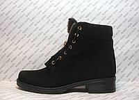 Ботинки женские стильные черного цвета нубук