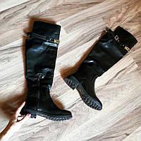 Высокие кожаные  сапоги-ботфорты