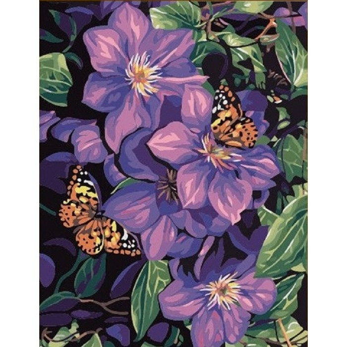 Картина по номерам Бабочки на цветах без коробки