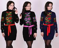 Теплое вязаное платье с цветочным принтом