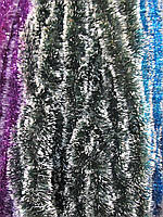 5 см диаметр Мишура дождик Хвоя с белыми кончиками