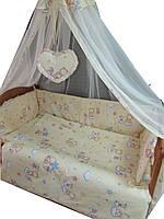 Постельное бельё в детскую кроватку Мишки маленькие беж  6 элементов