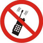 """Знак """"Запрещается пользоваться мобильным (сотовым) телефоном или переносной рацией"""""""