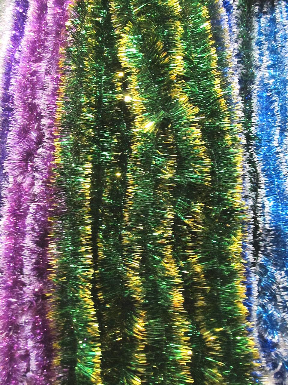 5 см диаметр Мишура дождик Зеленый с золотыми кончиками, Длина 3 метра