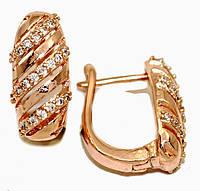 Серьги MAR, цвет советского золота . Камень: белый циркон. Высота серьги 1,8 см. ширина 8 мм.