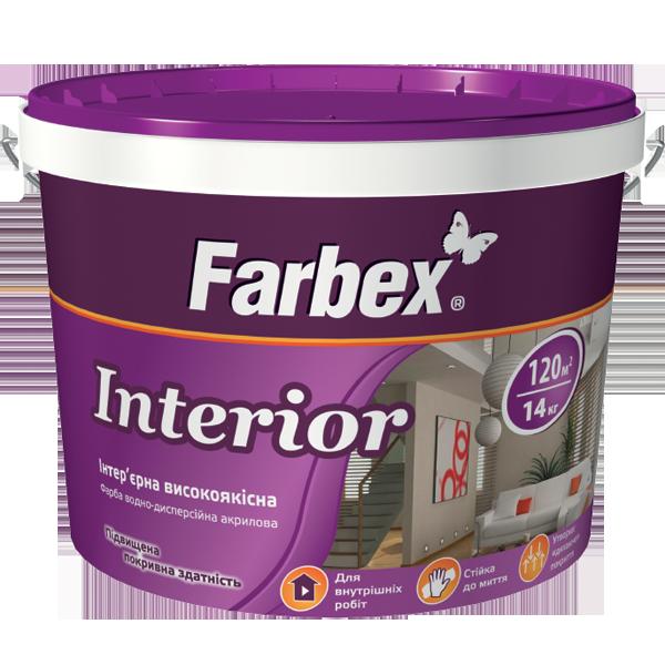 """Краска Farbex интерьерная высококачественная """"Interior"""" (Интериор), 1.2 кг (База С)"""
